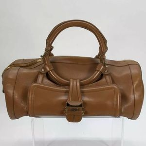 JIMMY CHOO Leather Tahula Hillary Tan Doctor Bag